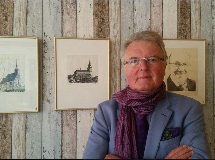 Freddy bij de vernissage van zijn laatste tentoonstelling in 2016: Zichten en Gezichten van Hoegaarden