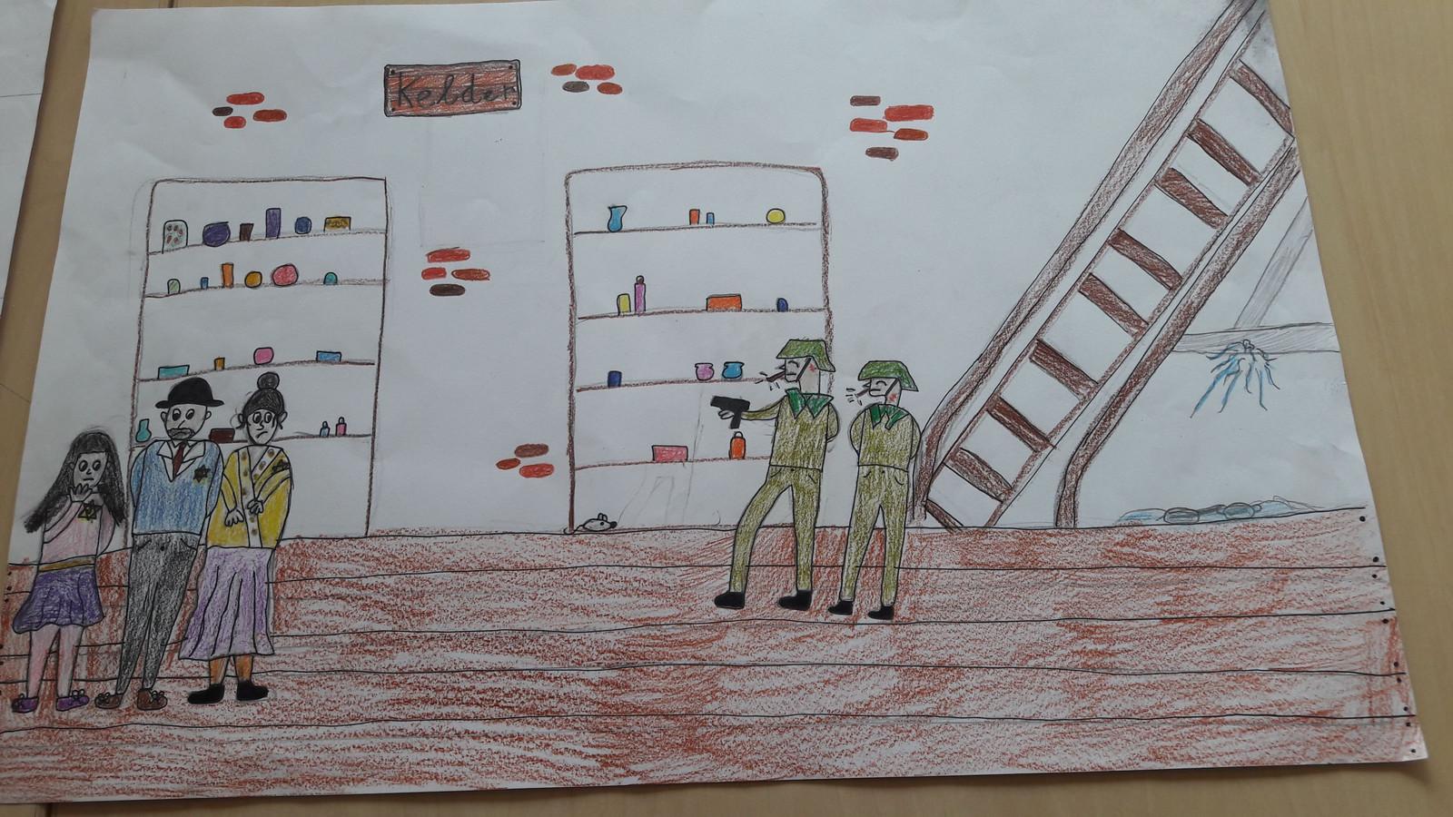 Tekening van Brechtje van Hest van een inval van Duitse soldaten op een onderduikadres.