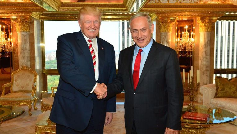 President Donald Trump met de Israëlische premier Netanyahu. Beeld epa