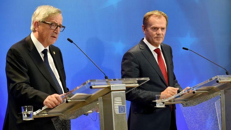 Europees Commissievoorzitter Jean-Claude Juncker (l.) en Europees president Donald Tusk (r.).