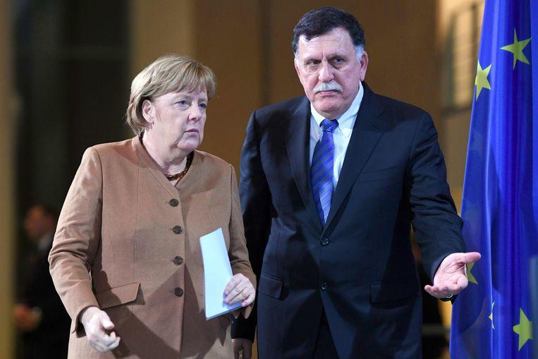 De Libische premier Fayez al-Sarraj met Duits bondskanselier Merkel