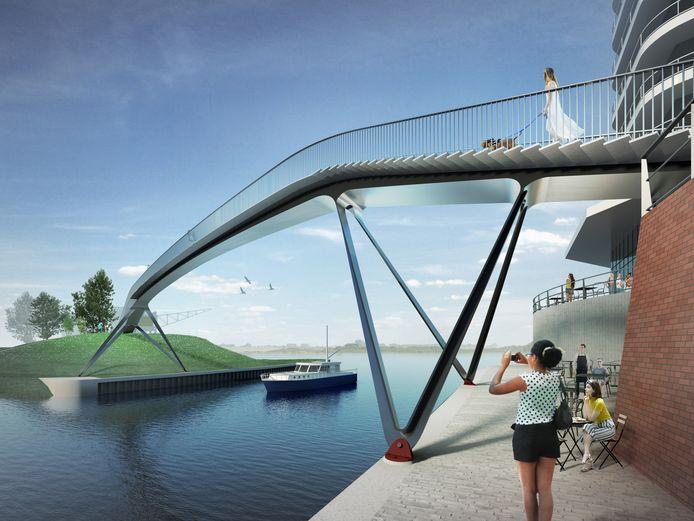 Het voorlopige ontwerp van de loopbrug van architectenbureau van Ney & Partners. De brug moet het centrum met het Waalfront verbinden.