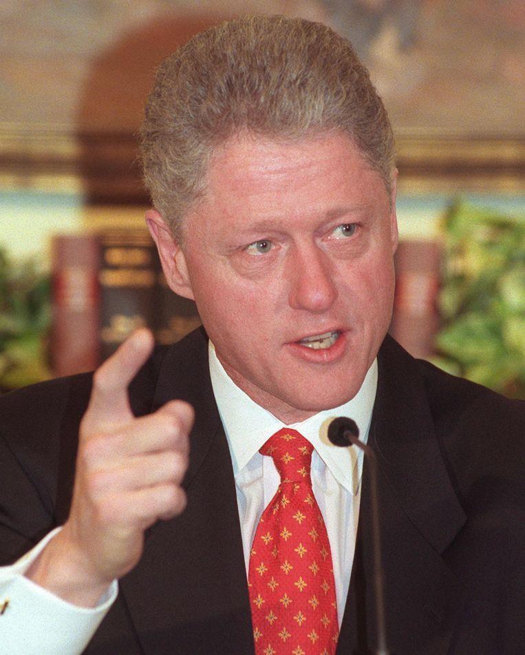 President Clinton in 1998 tijdens een persconferentie over de affaire met Lewinsky. Beeld afp