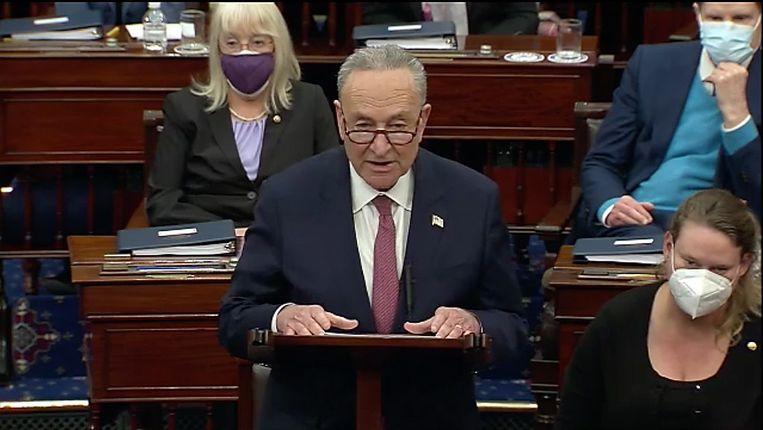 Chuck Schumer, de leider van de Democraten in de Senaat. Beeld EPA