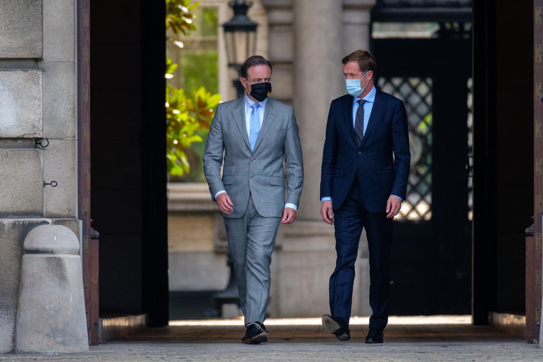 Partijvoorzitters Bart De Wever (N-VA) en Paul Magnette (PS). Beeld BELGA