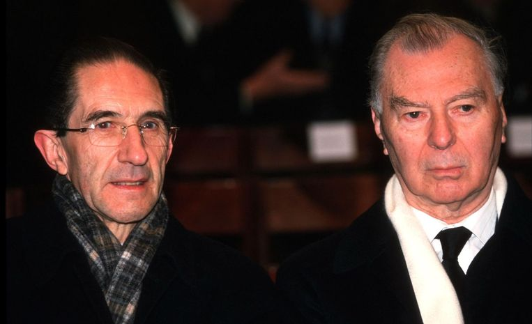 Léo Tindemans en Willy Claes in 2001. Beeld PHOTO_NEWS