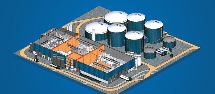 Impressie van de mestverwerkingsinstallatie die VTTI Bio Energy wil bouwen op De Spinder.