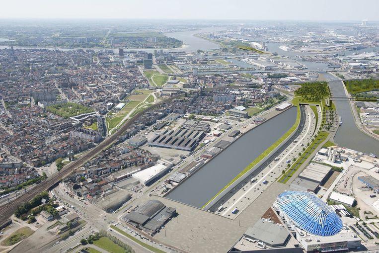 Het nieuwe plein aan het Sportpaleis en de tunnel die onder het Albertkanaal duikt. Beeld Vlaamse regering