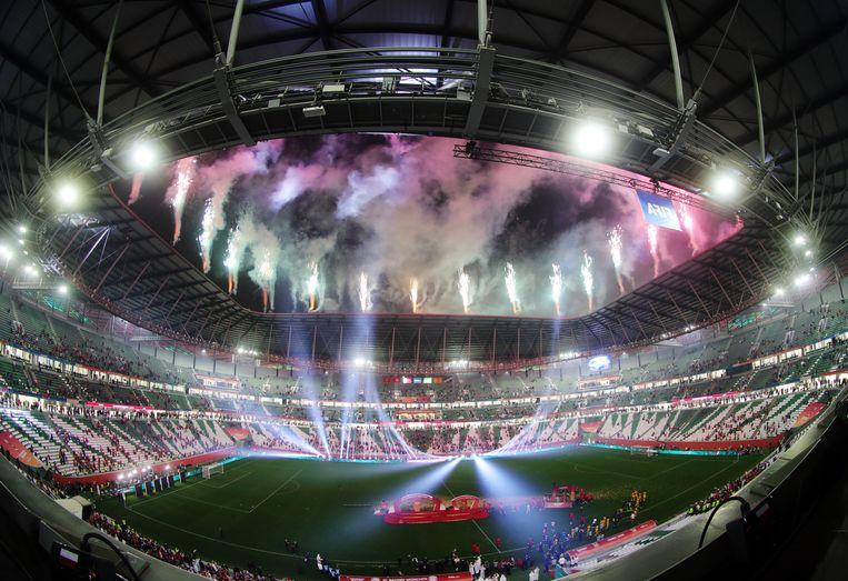Het Education City Stadium in Al Rayyan, Qatar, waar twee weken geleden de WK-finale voor clubteams werd gespeeld.  Beeld REUTERS