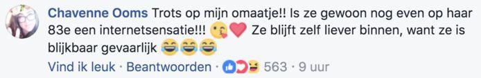 Facebook-berichtje van Chavenne, drie jaar geleden