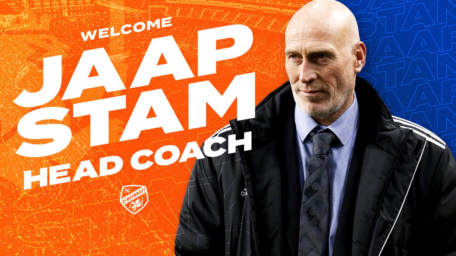 FC Cincinnati heeft Jaap Stam aangesteld als hoofdcoach maar blijkt nog niet exact te weten hoe hij eruitziet.