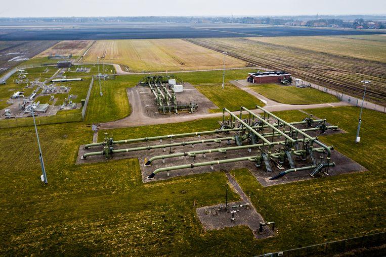 De gaswinningslocatie van de NAM in Muntendam, Groningen.  Beeld ANP