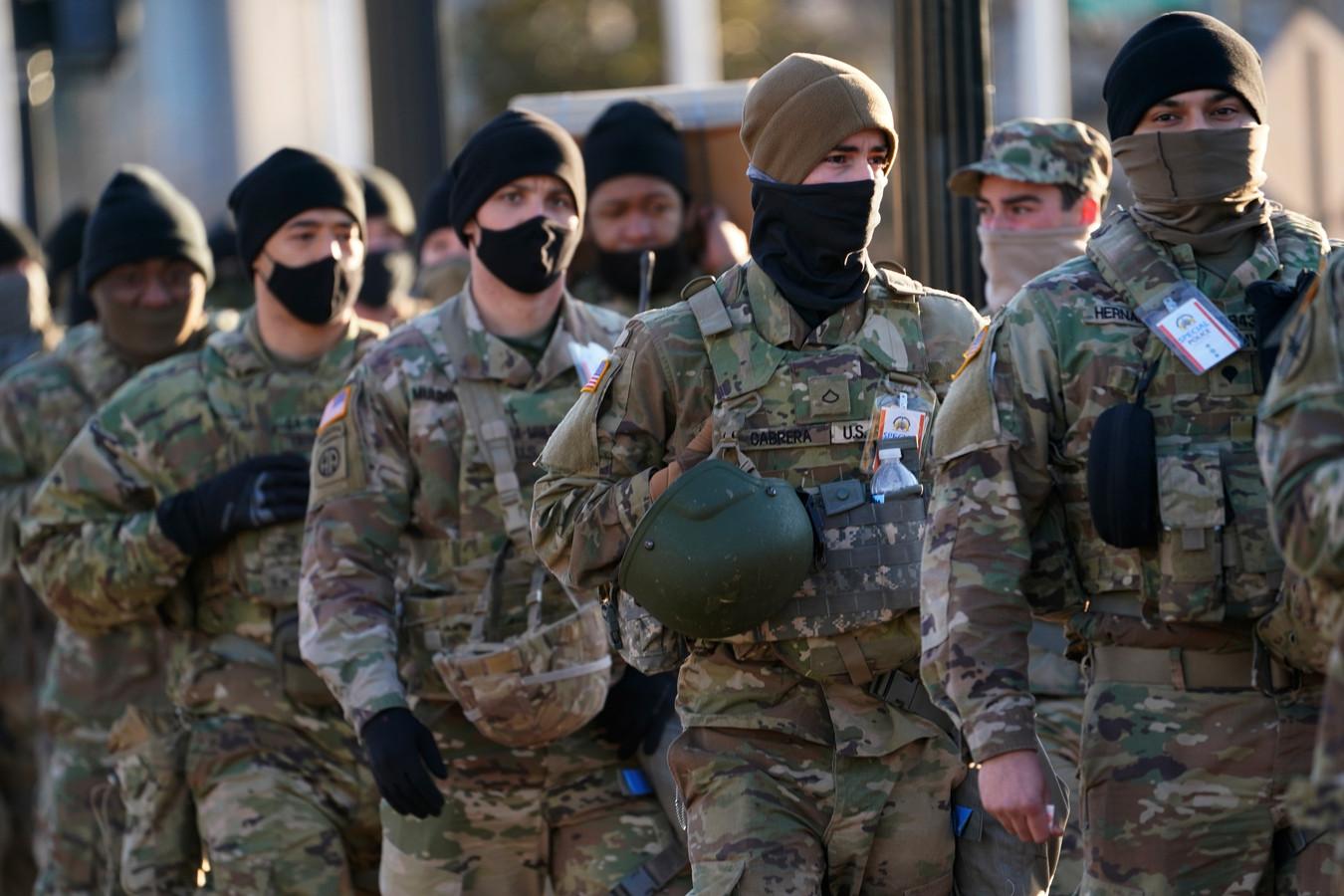 Des soldats de la Garde nationale à Washington, ce 20 janvier.