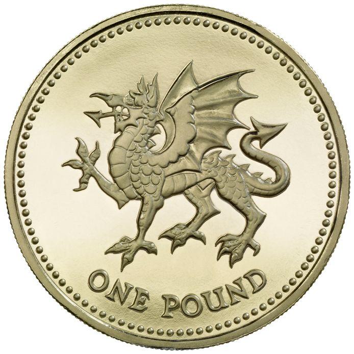 Op het muntstuk van 1 pond kreeg de draak vijf jaar geleden wél een penis.