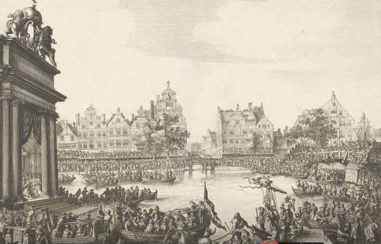 Rokin. Beeld Salomon Savery, Rijksmuseum