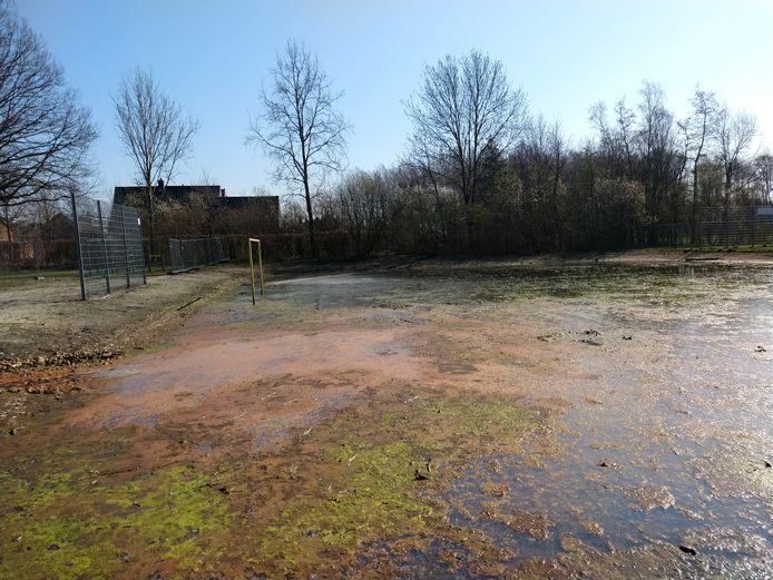Het voetbalveldje aan de Vogelzangstraat is ook een retentievijver, maar troebel water blijft staan.