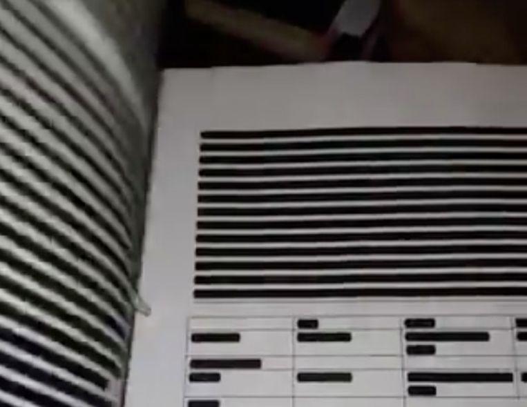Een screenshot uit een filmpje waarin is te zien dat volledige bladzijden zijn zwartgelakt. Beeld Twitter
