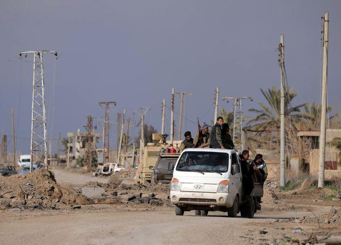 SDF-strijders in Baghouz afgelopen weekend.