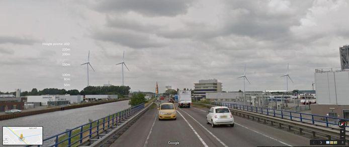Zo kan de situatie eruit zien als de vier windmolens langs de A50 er komen, gezien vanaf de N279. De toren van de Lambertuskerk is ook ingetekend.