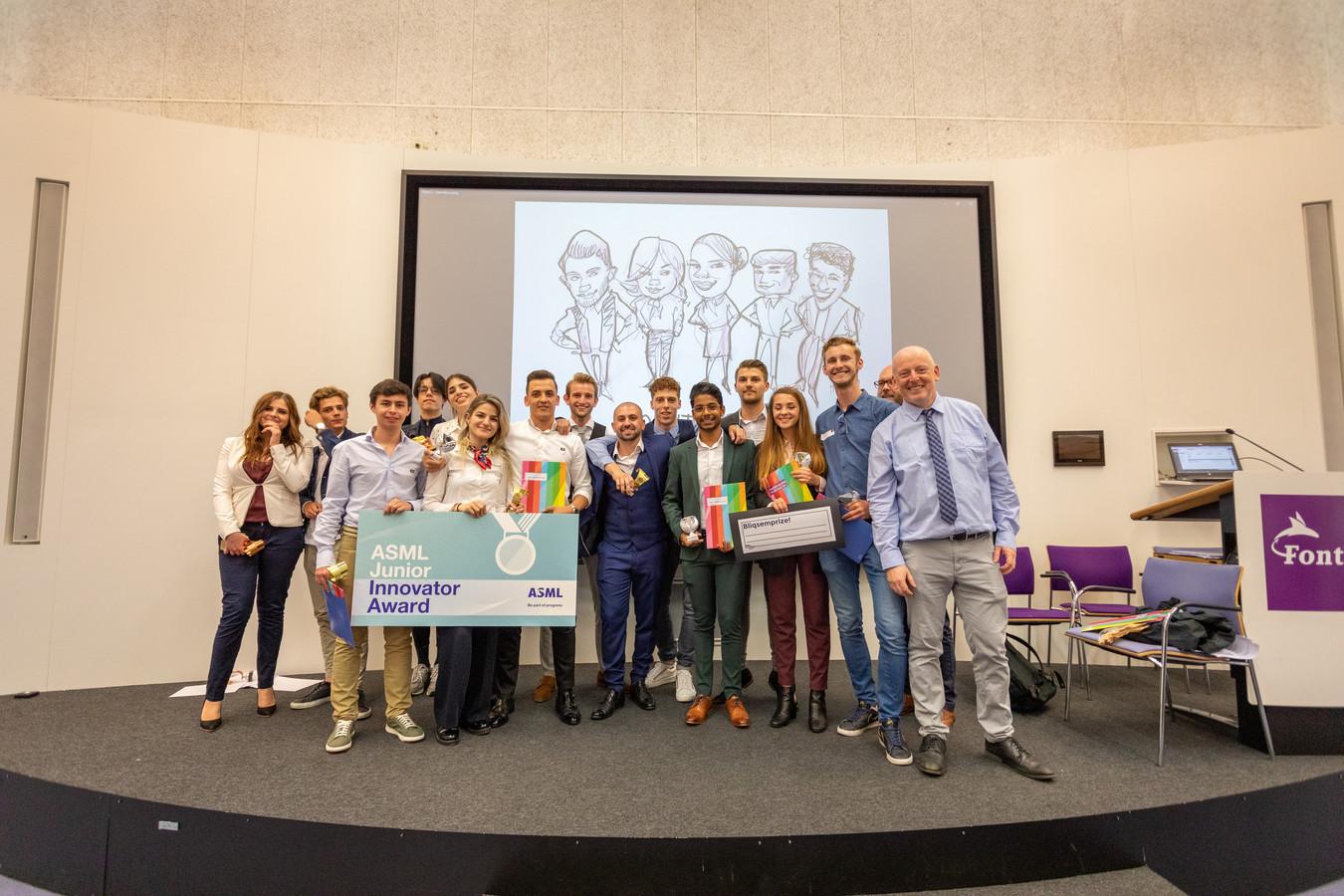 Alle prijswinnaars van de wedstrijd entrepreneurschap van Fontys.