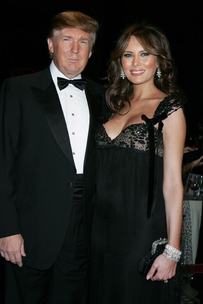 Donald Trump en Melania in 2005, toen ze zwanger was van Barron.
