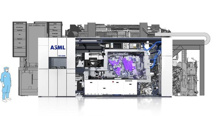 De EUV machine meet 8,3 bij 3,4 meter. Op de achtergrond een schets van de veel grotere EUV machine zoals die na 2020 gebouwd gaat worden.