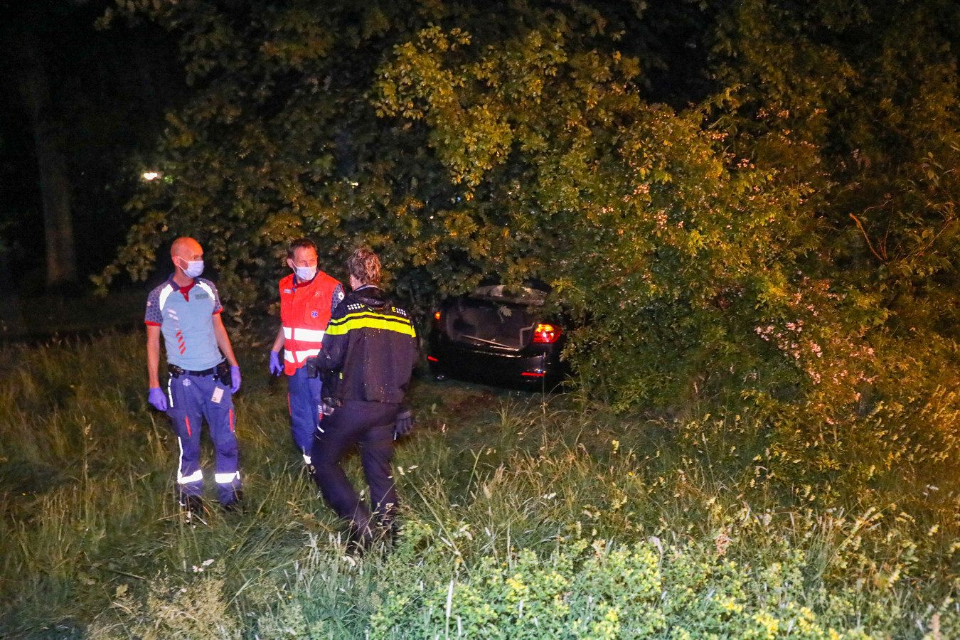Een auto is in de nacht van zaterdag op zondag op de Laan van Zevenhuizen van de weg geraakt en de bosjes in gevlogen. De inzittenden kwamen met de schrik vrij.
