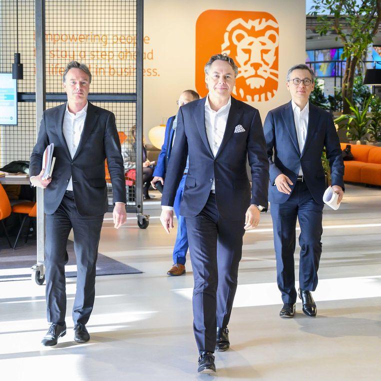 CEO Ralph Hamers (m) voorafgaand aan de presentatie van de jaarcijfers van ING. Beeld ANP