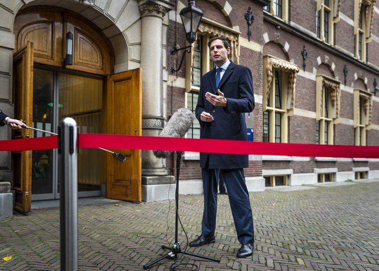 Wopke Hoekstra, minister van Financien, komt aan op het Binnenhof voor de wekelijkse ministerraad.  Beeld ANP
