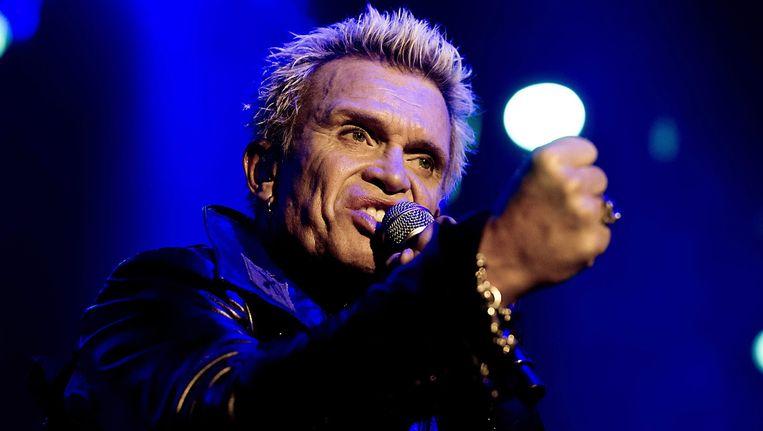 De Britse zanger Billy Idol tijdens een concert in de Heineken Music Hall in Amsterdam. Beeld EPA