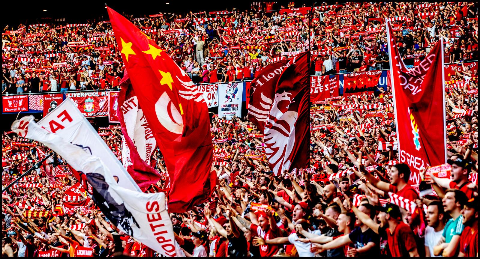 Fans van Liverpool in Madrid tijdens de Champions League-finale.