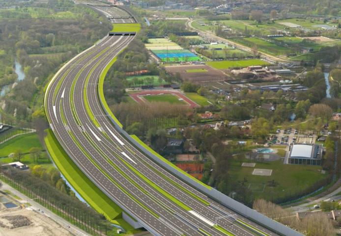 Nieuwe situatie van de A27 bij Utrecht na verbreding.  Ter hoogte van de Koningsweg komt een overkapping.