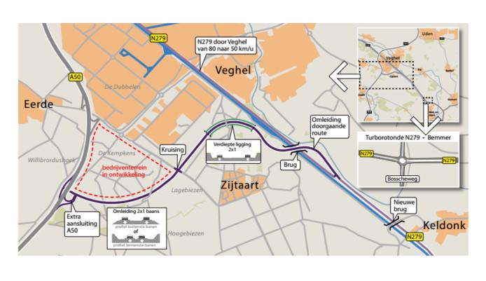 van de manieren om de N279 om te leiden is langs de Doornhoek en Corsica bij Zijtaart.