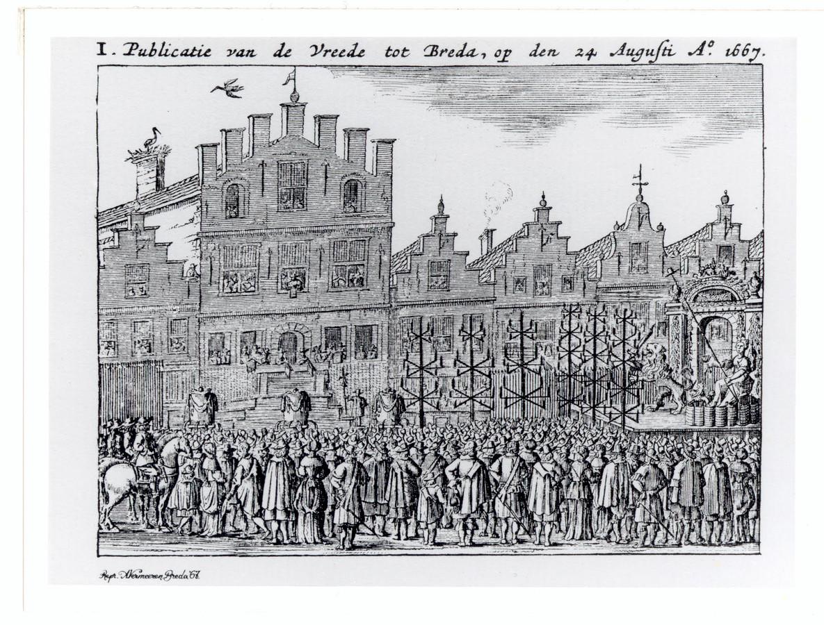 Bij het stadhuis van Breda werd op 24 augustus 1667 de Vrede van Breda officieel bekendgemaakt. Een maand eerder waren de voorwaarden voor het verdrag ondertekend op het kasteel van Breda.