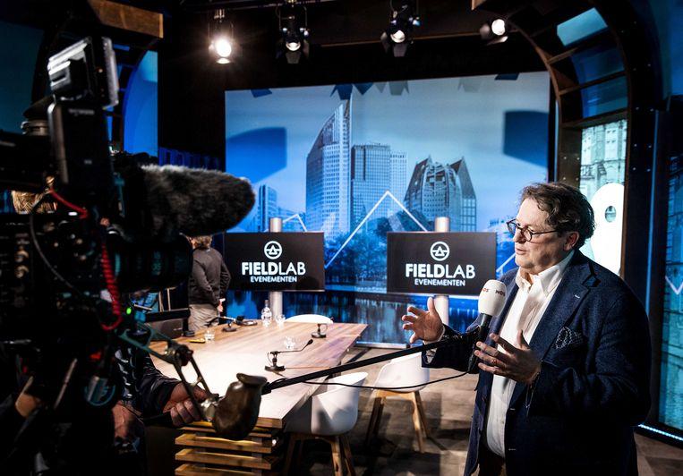Andreas Voss tijdens een perspresentatie van Fieldlab Evenementen. Beeld ANP