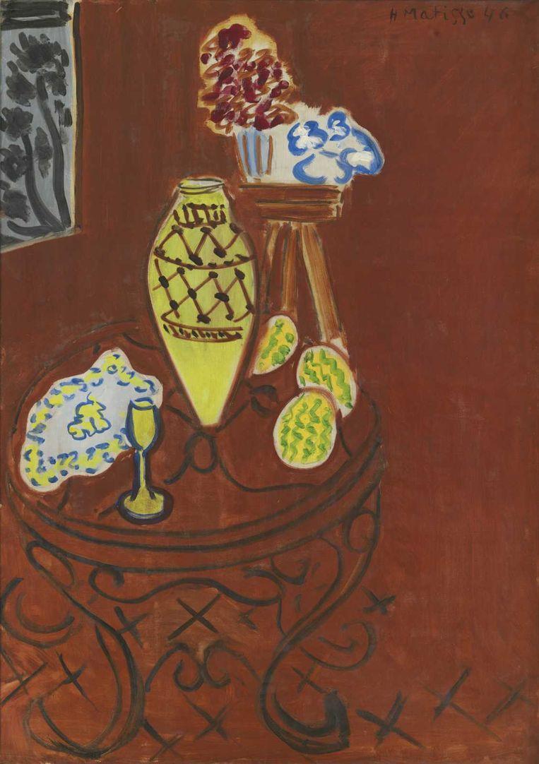 Henri Matisse, 'Stilleven. Interieur in Venetiaans rood' (1946; olieverf op doek). Beeld KMSKB, Brussel / foto : J. Geleyns