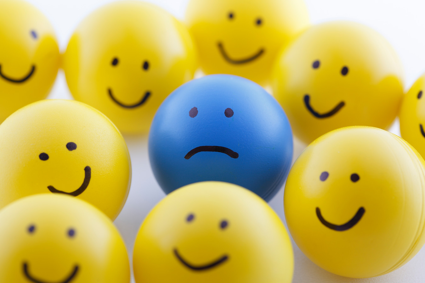 Close up of unhappy and happy smileys Smiley