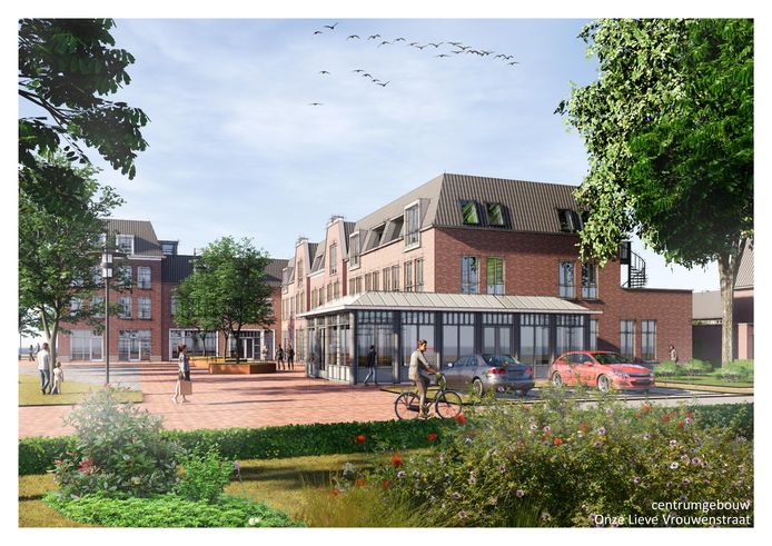 Het winkeldeel van Hart van Heteren. Rechts in de uitbouw komt Restaurant Al Volo. Brasserie De Boef komt links op de hoek aan het andere uiteinde van het complex.