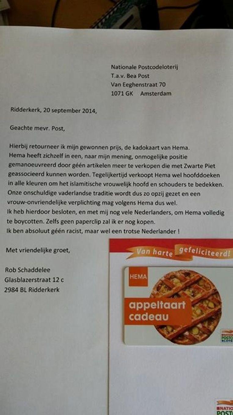 De brief naar de Hema die Rob Schaddelee op Facebook zette. Beeld Facebook
