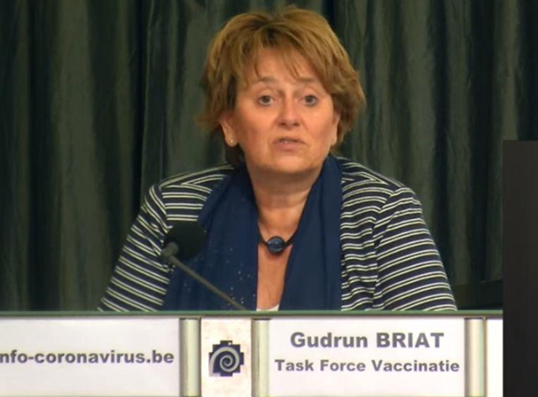 'Beter een laat vaccin dan geen vaccin', zegt Gudrun Briat, woordvoerder van de Taskforce Vaccinatie. Beeld Sciensano