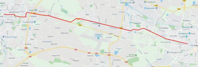 Voorlopig tracé uit intentieverklaring tussen gemeenten Breda, Oosterhout, Gilze en Rijen, Tilburg en provincie Noord-Brabant over de aanleg van een snelfietspad tussen Breda en Tilburg.