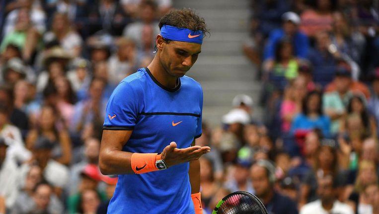 Rafael Nadal is teleurgesteld na zijn verlies. Beeld photo_news