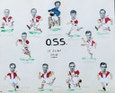 Een tekening met foto's van het elftal van OSS dat in het begin van de jaren 50 naar België ging voor de jaarlijkse uitwisseling. De voorhoede bestond uit Harry, Nico, Daaf en Henk Stok.