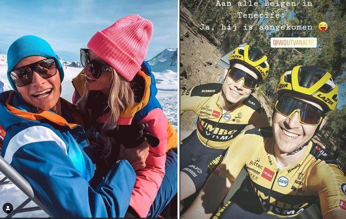 Links: Van der Poel en vriendin Roxanne. Rechts: Van Aert en ploegmaat De Plus