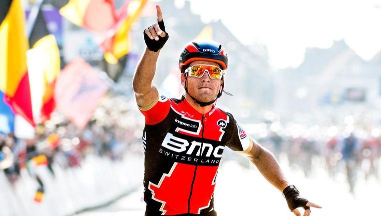 Greg van Avermaet wint zondag in Wevelgem zijn derde voorjaarskoers in Vlaanderen. Beeld null