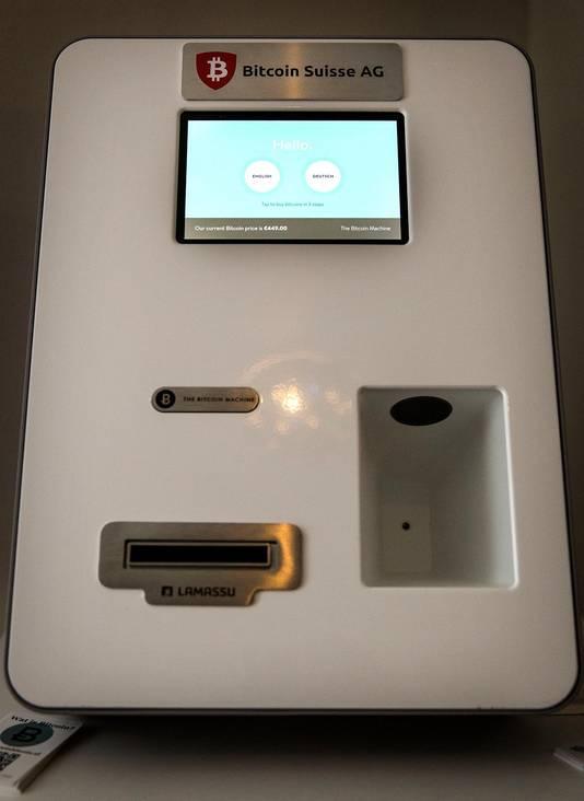 Een automaat om met bitcoins te betalen in een restaurant.