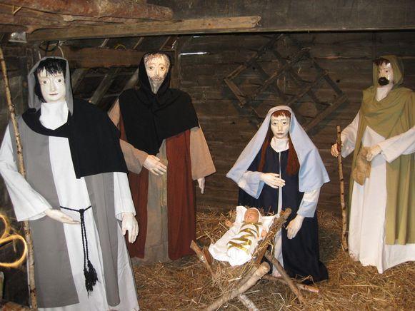 Het kindje Jezus toen het nog in de stal lag.