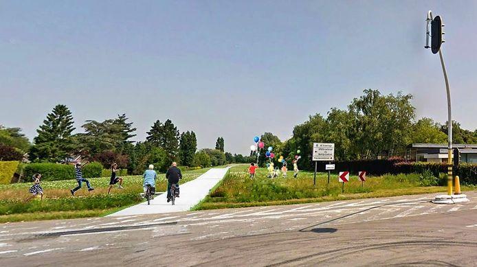 Een simulatiebeeld van de fietssnelweg, tussen de Doorniksesteenweg aan restaurant Colmar en de Oudenaardsesteenweg. Waar nu een reservatiestrook voor de voltooiing van de ring rond Kortrijk ligt