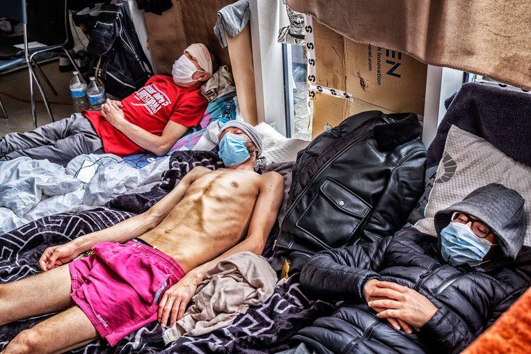 De gezondheid van de hongerstakers is bijzonder fragiel. Beeld Tim Dirven