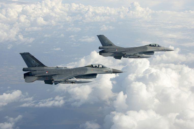 Nederlandse F16's van de vliegbasis Leeuwarden. Beeld